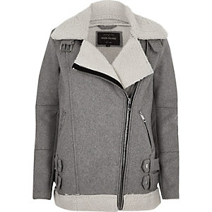 Grey borg lined aviator jacket
