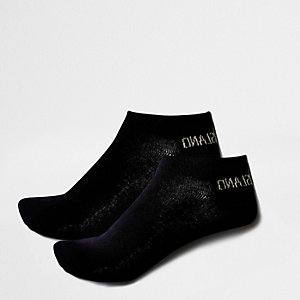 Black metallic knit ankle socks