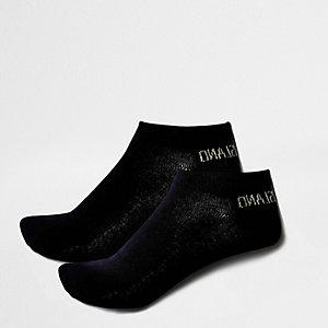 Chaussettes en maille noir métallisé