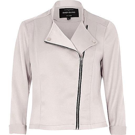Pink satin biker jacket