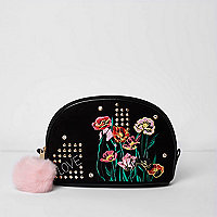 Black floral embroidered make-up bag