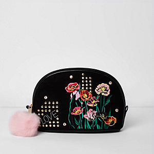 Makeup-Tasche mit Blumenstickerei