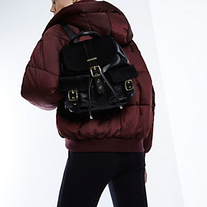 RI Studio black leather pony skin backpack