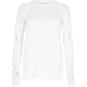 White distressed sleeve jumper
