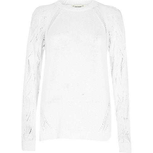 White distressed sleeve jumper