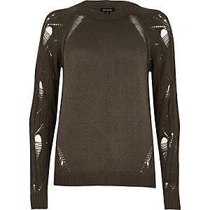 Khaki green distressed sleeve jumper