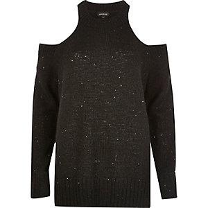 Black sequin cold shoulder jumper
