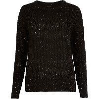 Black knit sequin jumper