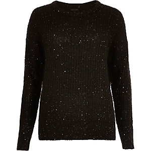 Black knit sequin jumper