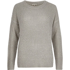 Grey knit sequin sweater