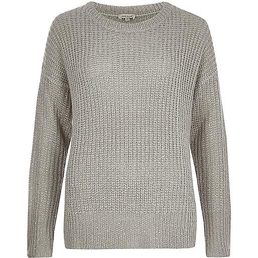 Grey knit sequin jumper