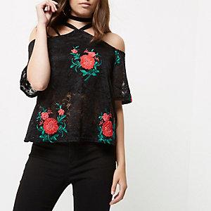 Petite black lace floral cold shoulder top