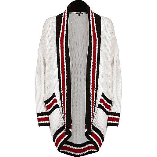 White block print shawl neck cardigan