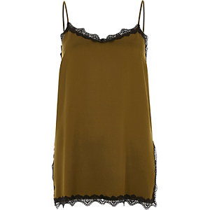 Khaki green lace trim cami