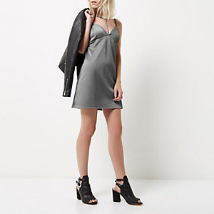 Petite grey T-bar strappy mini dress