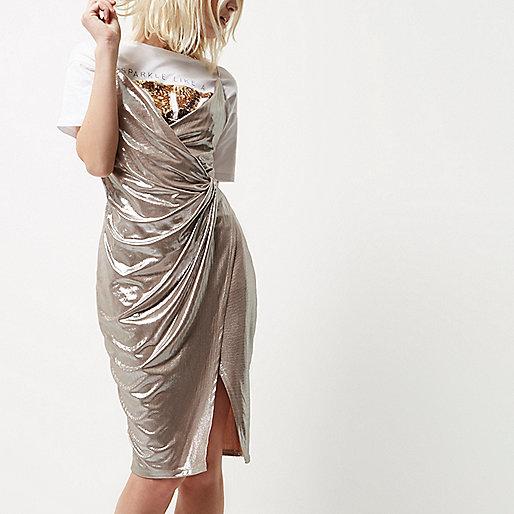 Petite metallic nude wrap dress