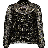 Black print lace high neck blouse