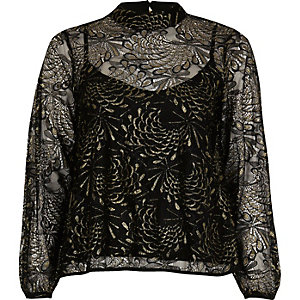 Black print lace high neck blouse