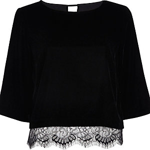 Black velvet lace hem top