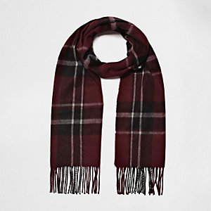 Dark red plaid scarf