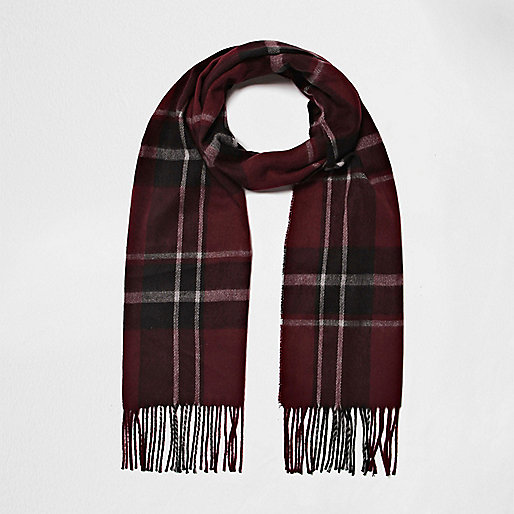Burgundy tartan scarf