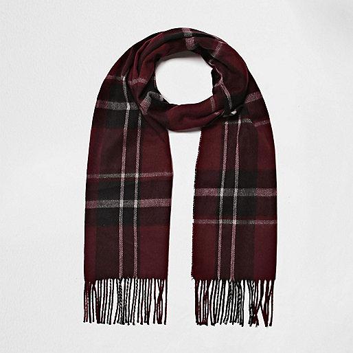 Dark red plaid scarf