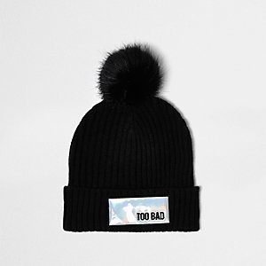 Black knit reflective patch bobble hat