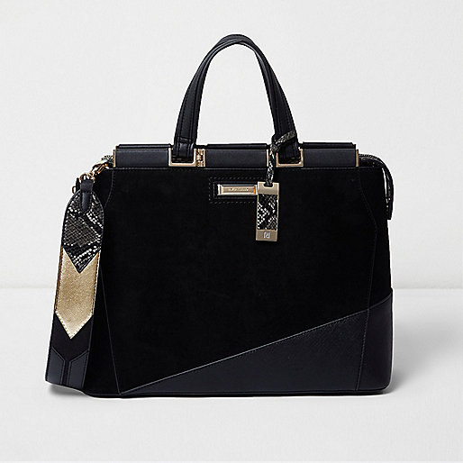 Black Mini Structured Tote Bag River Island