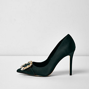 Dark green satin buckle court shoes