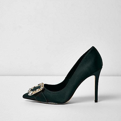 Dark green satin buckle court shoes