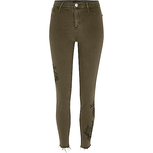 Khaki green embroidered Molly jeggings