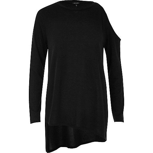 Black asymmetric cold shoulder top