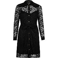 Black dolly lace shirt dress