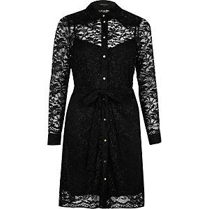Robe chemise en dentelle noire