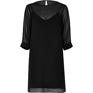 Black layered chiffon shift dress