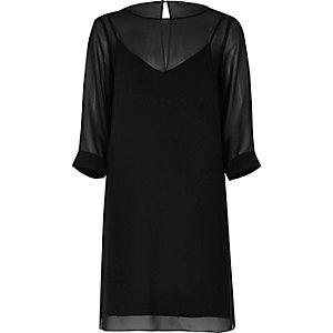 Black layered chiffon shift dress