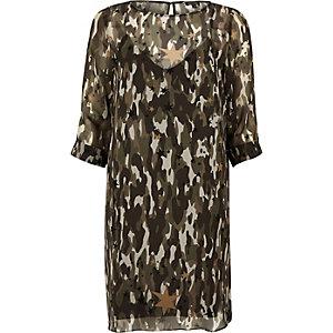 Khaki camo chiffon layered shift dress