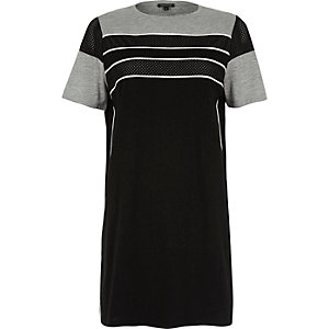 Black stripe airtex oversized T-shirt