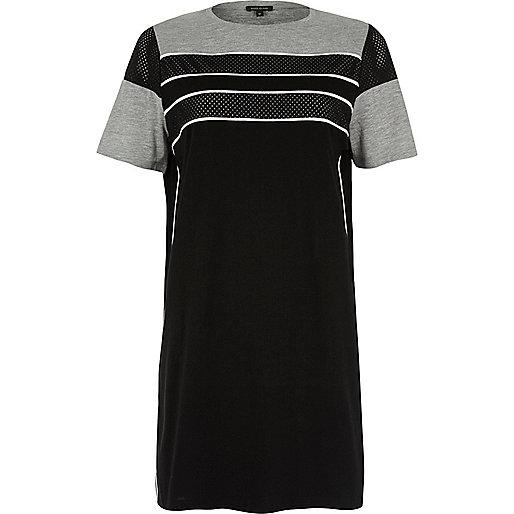 Black stripe airtex oversized T-shirt