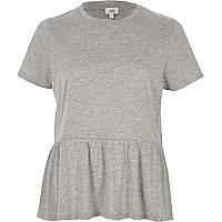T-shirt gris doux style péplum