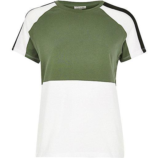T-shirt boyfriend kaki effet colour block