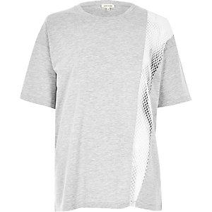 Grey marl mesh panel boyfriend T-shirt