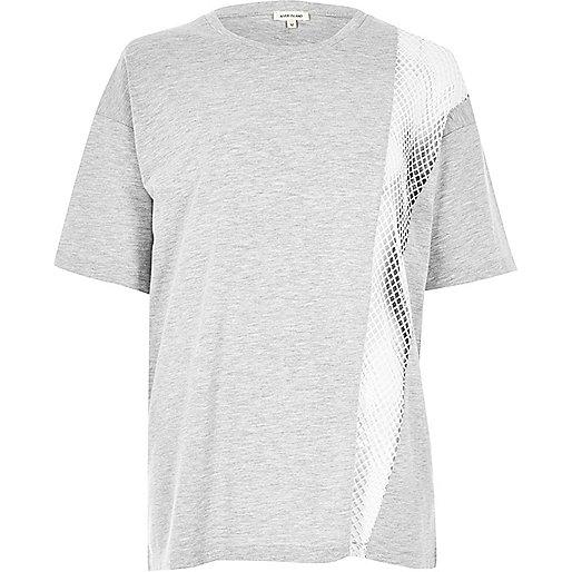 T-shirt boyfriend gris chiné avec empiècement en tulle