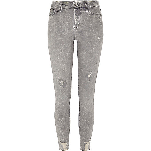 Molly – Graue Jeggings im Used-Look in Acid-Waschung
