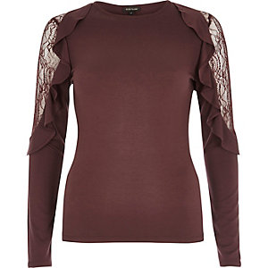 Burgundy lace frill sleeve top