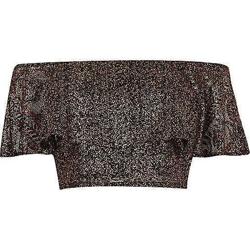 Black metallic lace frill bardot crop top