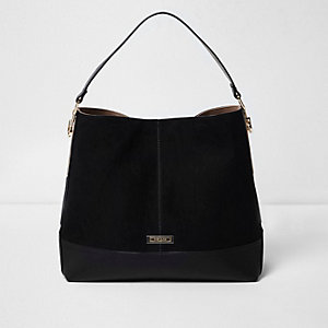 Black panel slouch bag