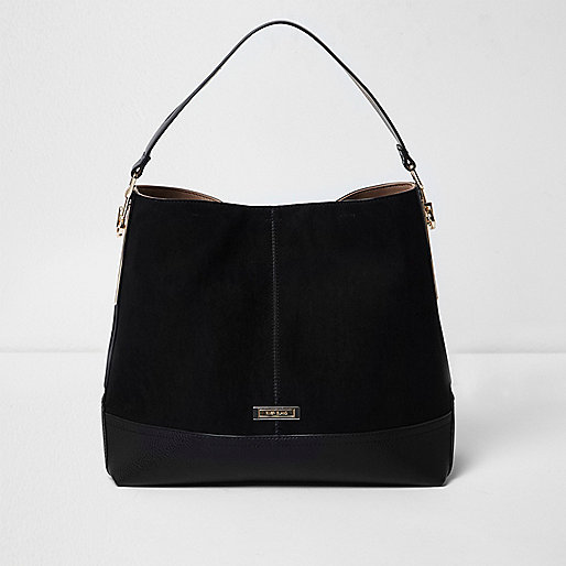 Black panel slouch bag
