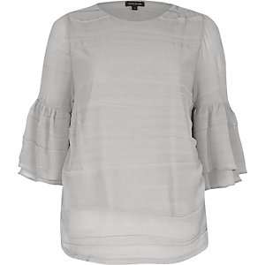 Grey layered frill sleeve top