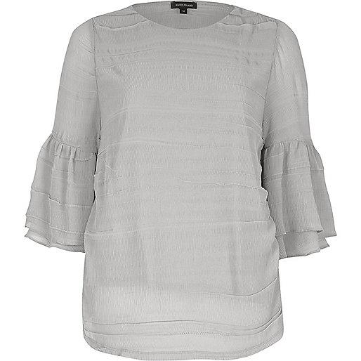 Grey layered frill sleeve top
